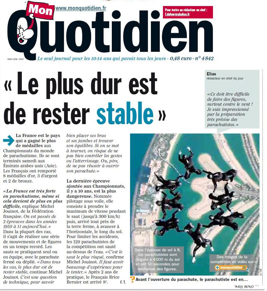 F d ration fran aise de parachutisme la france est le for Le journal du pays d auge
