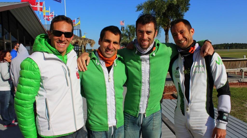 L'équipe 3 Style (Yohann Aby, Loic Perrouin, Pierre Rabuel) et l'entraîneur Sébastien Chambet