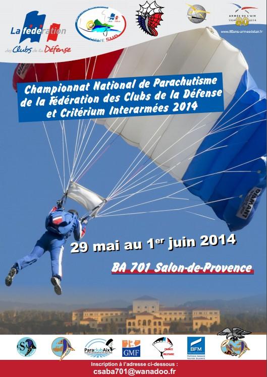Affiche Championnat National Parachutisme Fédération Clubs Défense Critérium 2014