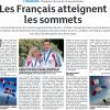 <b>Dernières nouvelles d'Alsace-30-08-14-Les Français atteignent les sommets</b>