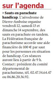 La Nouvelle République-19-08-14-Saut en parachute handicap