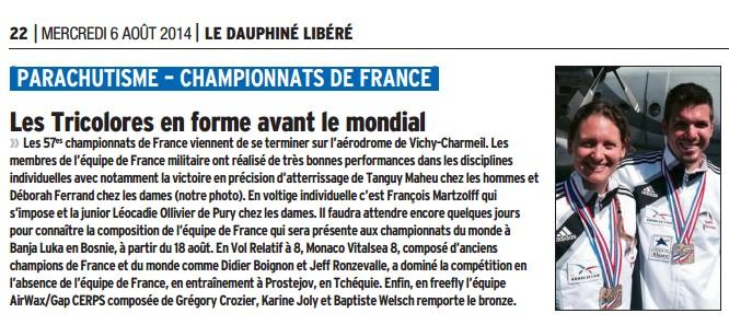 Le Dauphiné Libéré-06.08.2014.les tricolores en forme avant le mondial