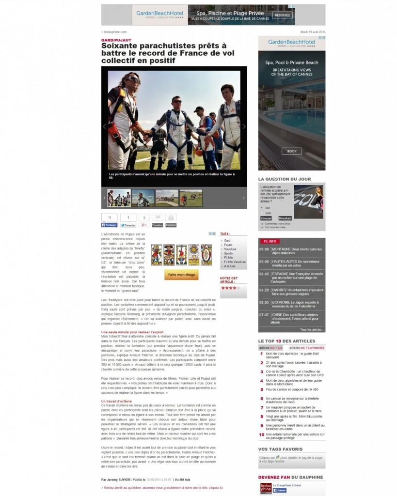 Le Dauphiné.com-12-08-14-Soixante parachutistes prêts à battre le record de France de vol collectif en positif