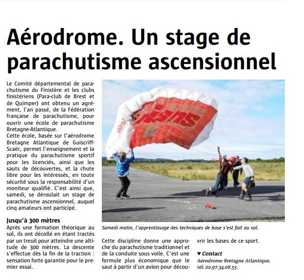 Le télégramme-25-08-14-Aérodrome.Un stage de parachutisme ascensionnel