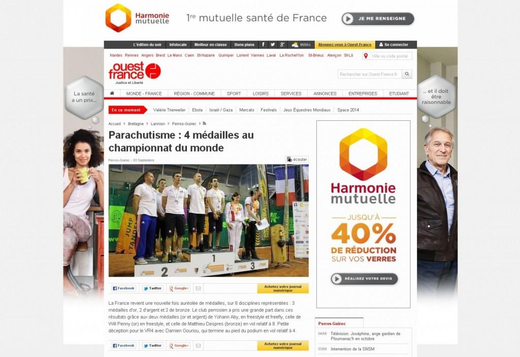 Ouest France-03-09-14-Parachutisme 4 médailles au Championnat du monde