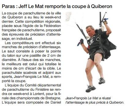 Ouest France-05-09-14-Paras Jeff le Mat remporte la coupe à Quiberon