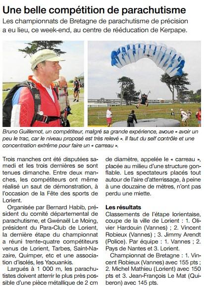 Ouest France-08-09-2014-Une belle compétition de parachutisme