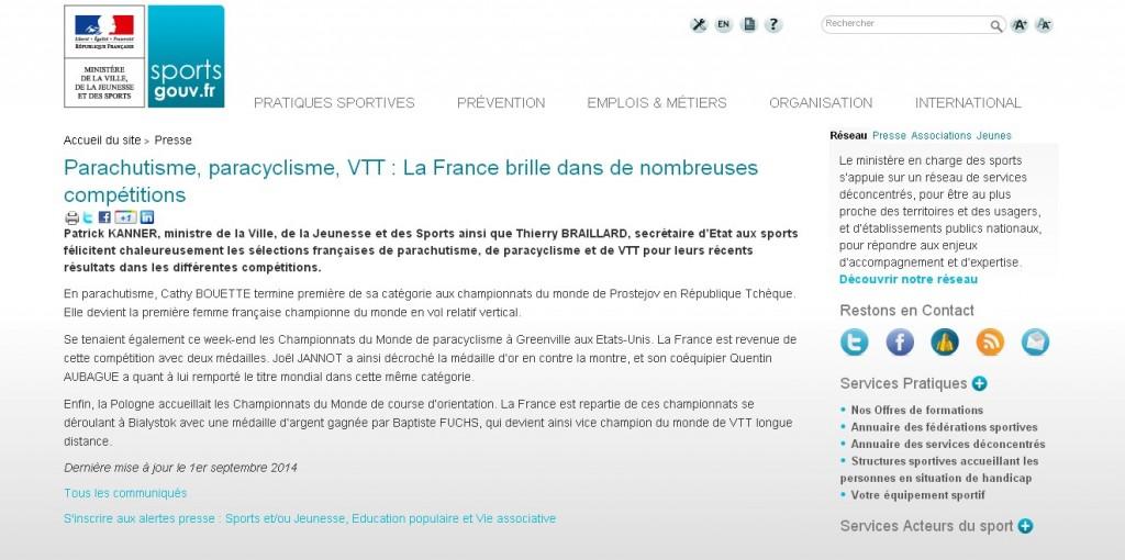 sports gouv.fr-01-09-14-Parachutisme, paracyclisme, VTT La France brille dans de nombreux domaines