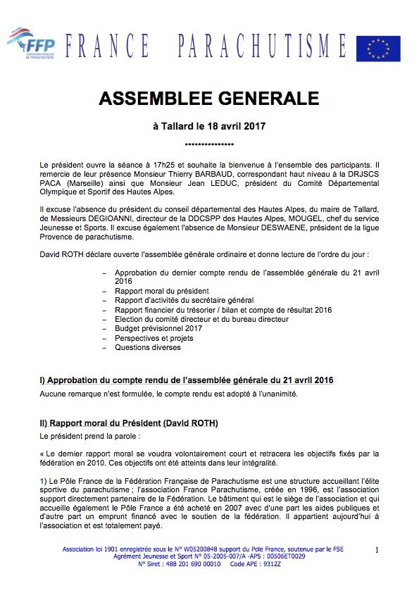 Federation Francaise De Parachutisme Compte Rendu De L Assemblee